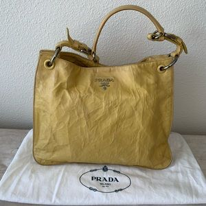 787f3aca56 Authentic Prada soft leather shoulder tote purse